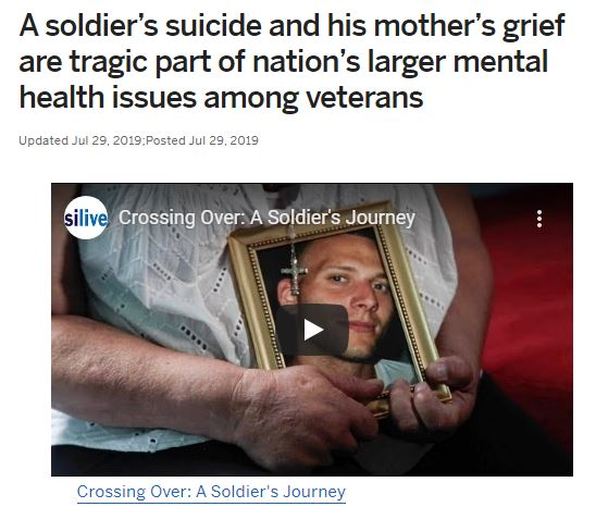 A soldier's suicide and his mother's grief are tragic part of nation's larger mental health issues among veterans