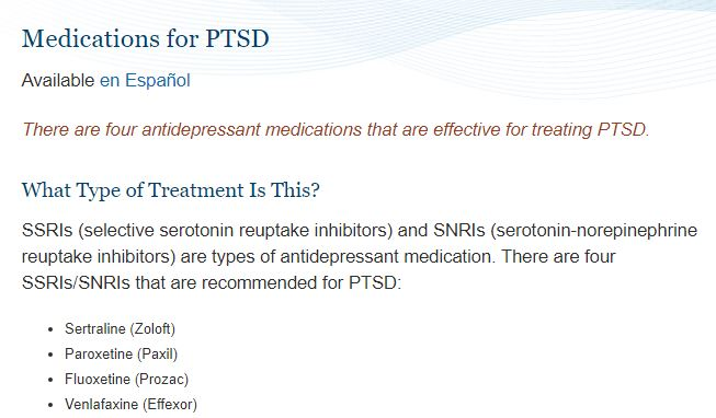 Medications for PTSD
